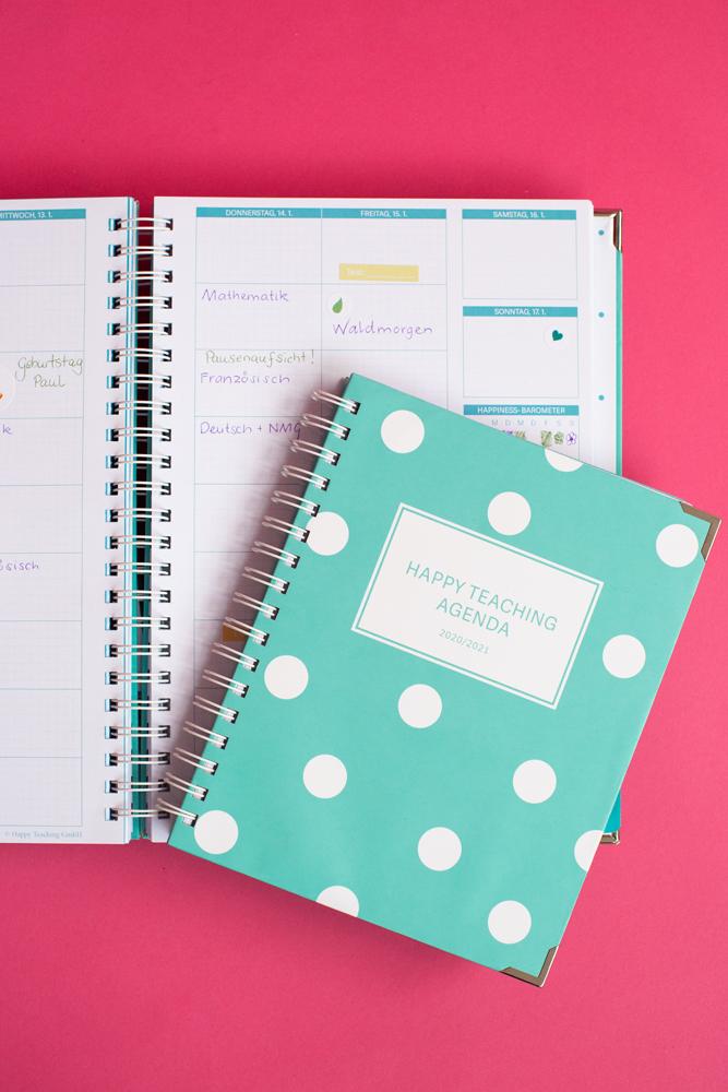 Lehreragenda. Lehrerkalender, Happy Teaching Agenda, Unterrichtsplanung